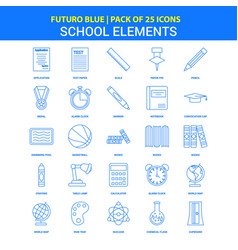 school elements icons - futuro blue 25 icon pack vector image