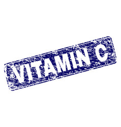 Scratched vitamin c framed rounded rectangle stamp vector