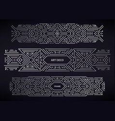 Set art deco silver borders frames vector