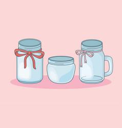 set mason jars empty vector image