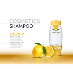Shampoo cosmetic realistic mock up package orange vector