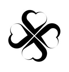 shamrock symbol fourleaf clover black vector image