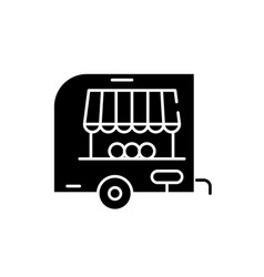 shop pickup black icon sign on isolated vector image