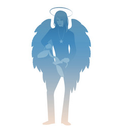 silhouette angel with appearance and clothes vector image