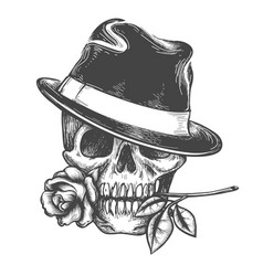 Skull in hat with rose flower vector