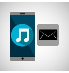 Smartphone music online email vector