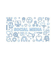social media concept outline horizontal vector image