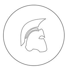 spartan helmet icon black color in circle vector image