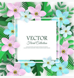 Spring white flowers with leaves poster vector