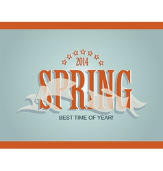 Spring word ribbon and stars vector