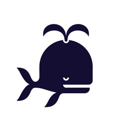 stylized whale icon black color vector image