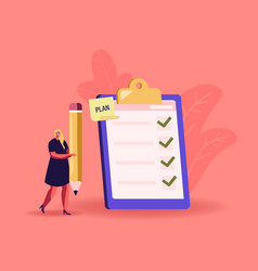 Tiny businesswoman with huge pencil at checklist vector