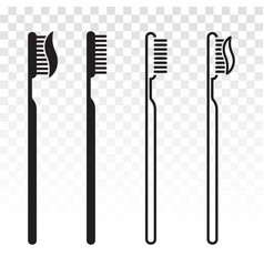 Toothbrush tooth brush with toothpaste flat vector