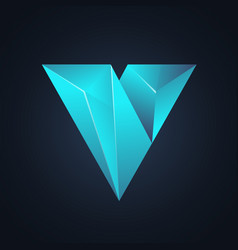 V diamond logo design vector
