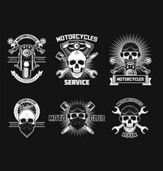 vintage white moto skull logos labels vector image