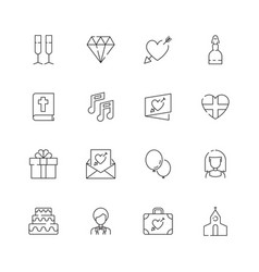 wedding icons heart cupcakes bride items for vector image