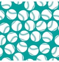 White baseball icons on green background seamless vector image