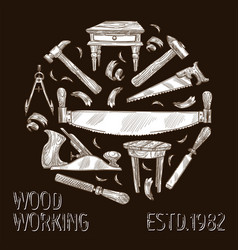 Wood work craft tools or instruments and wooden vector