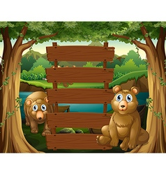 Wooden sign and bears in woods vector