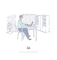Worker employee at workplace boss in private vector