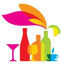 bottles colored icon drinks vector image vector image