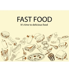 Fast food It is time delicious meal banner vector image