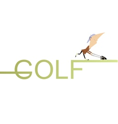 Golfer lawnmower vector image
