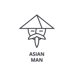 asian man line icon outline sign japanese man vector image vector image