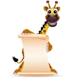 cute giraffe cartoon with blank sign vector image vector image