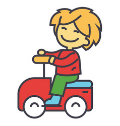 kid driving big toy car and having fun outdoors vector image