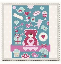 Valentines Day scrapbook card vector image