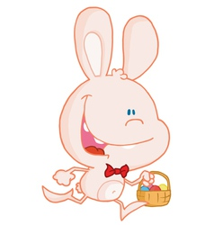 Bunny running with easter eggs in a basket vector image vector image