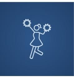 Cheerleader line icon vector image