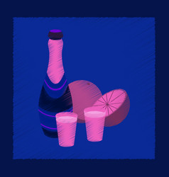 flat shading style icon champagne oranges vector image