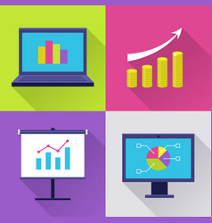 icons set with finance diagram vector image
