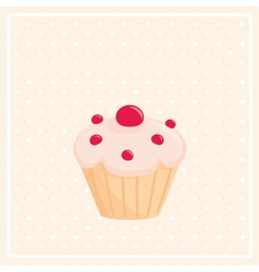 Sweet cupcake on white polka dots pink background vector image vector image