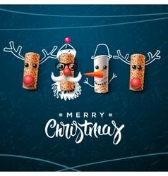 Christmas character Santa Claus snowman reindeer vector image vector image