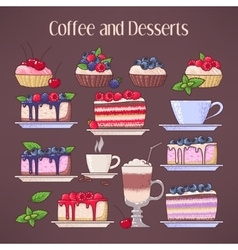 Coffee and desserts vector image