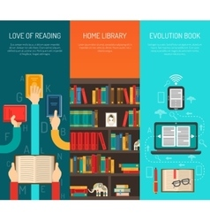 Library long hands flat bannes set vector