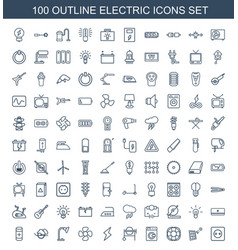 100 electric icons vector