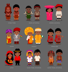 africans and asians in national dress vector image