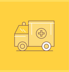 ambulance truck medical help van flat line filled vector image
