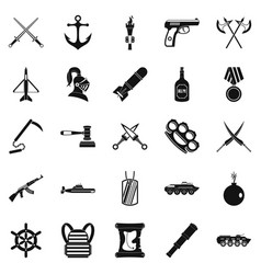 armor icons set simple style vector image