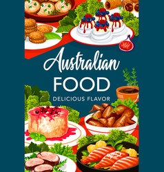 Australian cuisine food menu buffet meal dishes vector