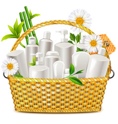 Basket with natural cosmetic vector