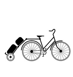 bicycle tandem trolley trailer tent accessories vector image