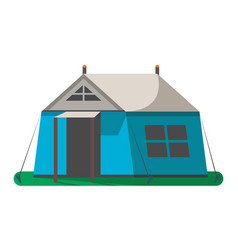 blue hiking tent icon isolated vector image