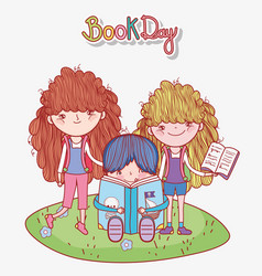 Boy sitting with book and girl standing in grass vector