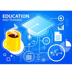 bright cap graduate and coffee on blue backg vector image