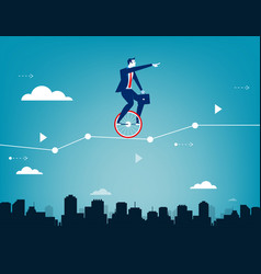Businessman balancing on unicycle and drive vector